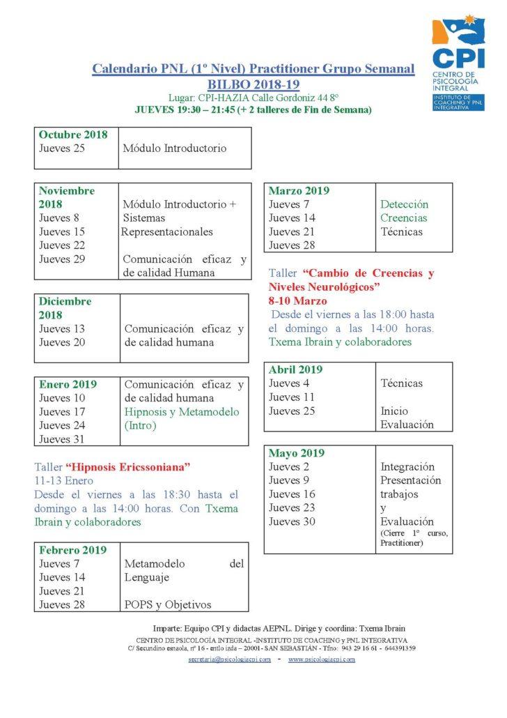 CALENDARIO PNL BILBO 2018-19