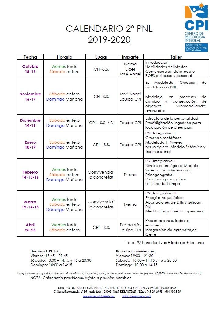 Calendario 2º PNL 2019-20
