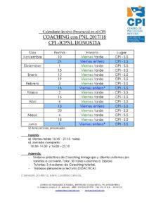Calendario Coaching 2017-18