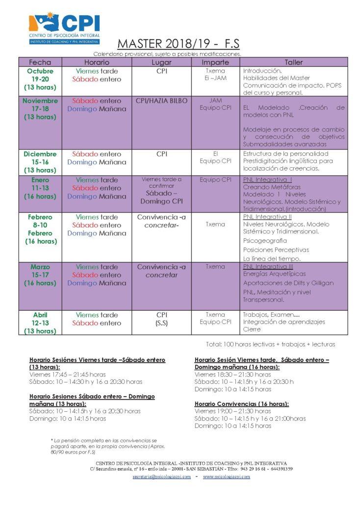 Calendario Master 2018-19