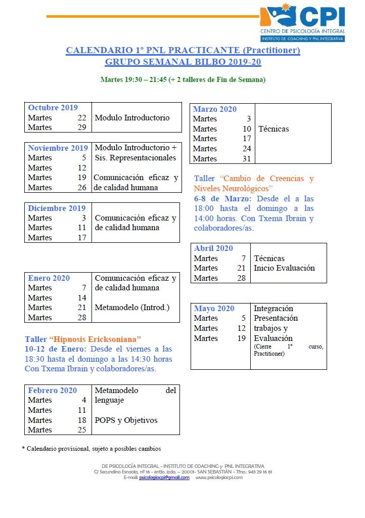 Calendario PNL BILBO 2019-20