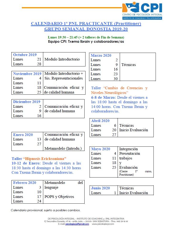 Calendario PNL DONOSTIA 2019-20