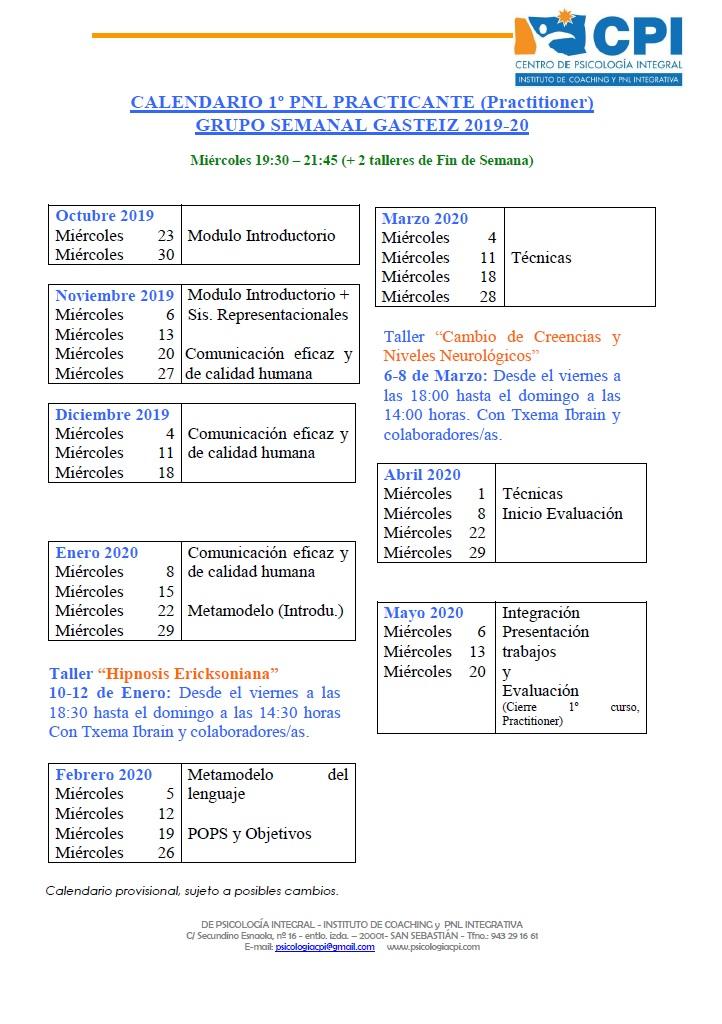 Calendario PNL GASTEIZ 2019-20