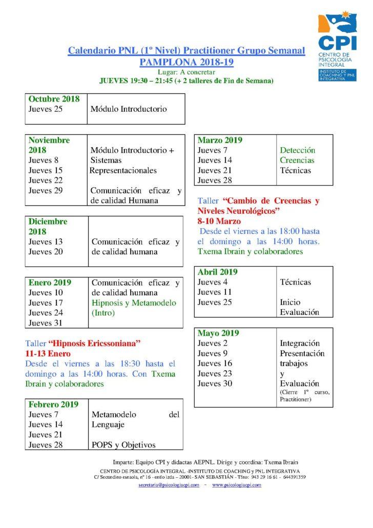 Calendario PNL PAMPLONA 2018-19